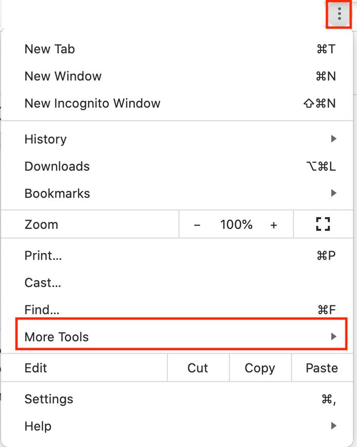 Chrome setting more tools